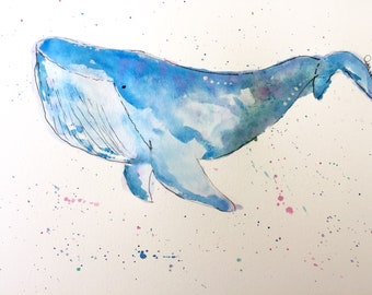 Blue Whale Handmade Watercolor Drawing PRINT