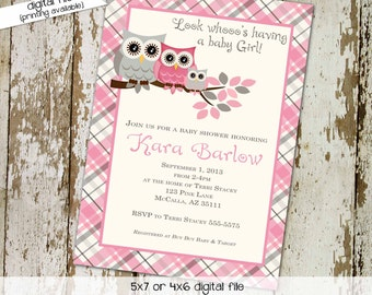 owl baby shower invitation sprinkle girl 1st birthday diaper wipes brunch couples coed sip see pink gray plaid baptism | 1372 Katiedid Cards