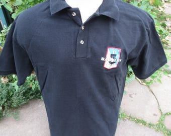 Vintage 90's Babylon 5 Embroidered Patch Polo Shirt Size Medium M