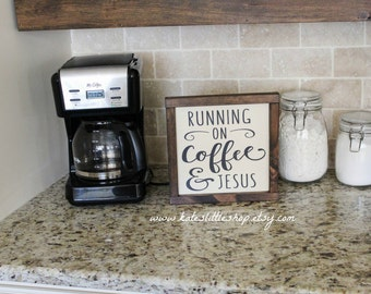 Painted and Framed Running on Coffee and Jesus Wood Framed Sign. Coffee and Jesus. Coffee Sign. Farmhouse Decor. Kitchen Sign. Home Decor.
