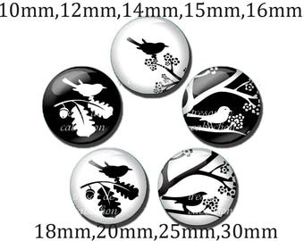 5pcs Y302 Cabochons manual diameter of 10mm 12mm 14mm 15mm 16mm 18mm 20mm-25mm 30mm Silhouette, bird