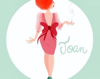 Joan Mad Men square print illustration