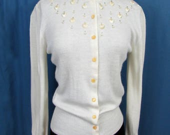 Vintage Ivory Cardigan Sweater with seashell bead trim by June Porter -  1950s-60s - Small