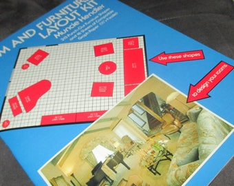 Vintage 80s Room and Furniture Layout Kit Book Interior Design and Decorating