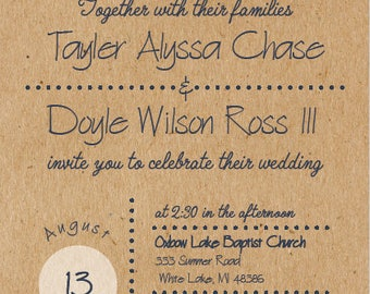 Kraft Sunflower Wedding Invitation and RSVP Postcard