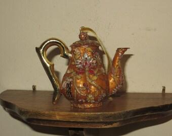 Miniature Teapot, Fancy Dollhouse Ornate Tea Pot w/ free ship