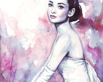 Audrey Hepburn Watercolor Portrait Print Audrey Painting Audrey Hepburn Watercolor Audrey Hepburn Print Art Fashion Watercolor Audrey Print