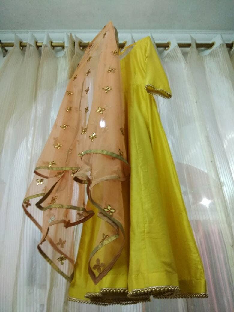 Yellow anarkali Kurta with hand embroidered net dupatta