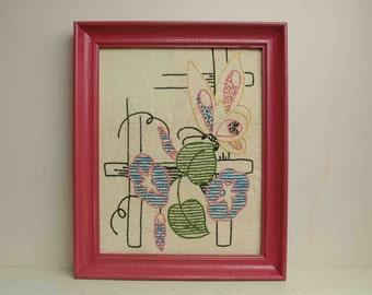 Vintage Butterfly Morning Glory on Fence Needlepoint Pink Frame 1950s