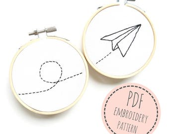 Embroidery Pattern- Paper plane- PDF Embroidery Pattern- Digital Pattern- Hand Embroidery paper plane- Modern embroidery- 3 inch hoop design