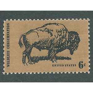 6c American Buffalo stamp .. Pack of 20 Unused postage stamps .. Vintage postage stamps. Old West, Wildlife Conservation, Great Plains USA