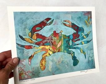 Boho Colorful Crab Mixed Media Reproduction Print 8x10