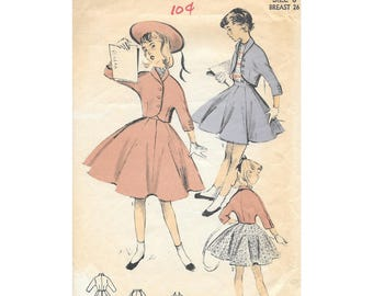 1950s Girls Twirl Skirt Bolero Jacket Sz 8 Sewing Pattern Advance 6521 Vintage