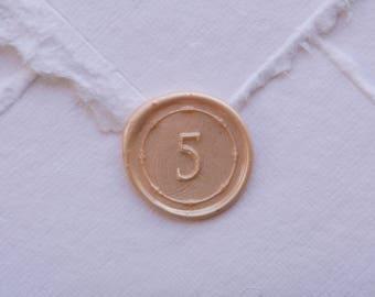 5 Wax Seal, number 5 seal, five seal, number seal