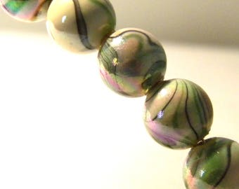 colors-10 mm - tones green G172 2 wave 20 Acrylic beads-10 mm - iridescent round beads
