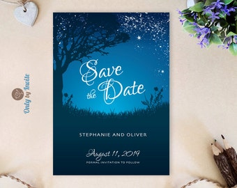 Starry night wedding save the date cards | Romantic wedding save the dates cheap | Starry night save the date invitations printed