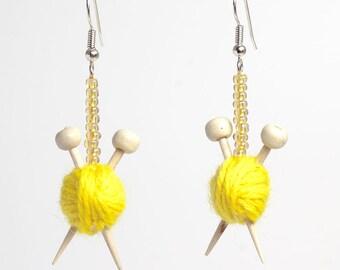 Yellow Ear Knits - Yarn ball earrings