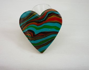 turquoise heart ring polymer clay handmade