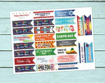 Teacher Planner Stickers, Holidays, Mambi Teacher Happy Planner,  ERIN CONDREN LIFEPLANNERTM, School, Maestra, Escuela, Special Days