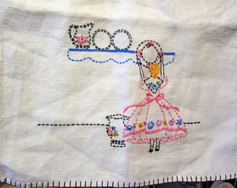 Vintage Embroidery Tea Towel - Lady with Plates - super nice