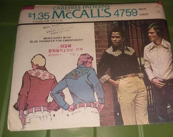 New Mens Pattern Carefree McCalls #4759 Size 38