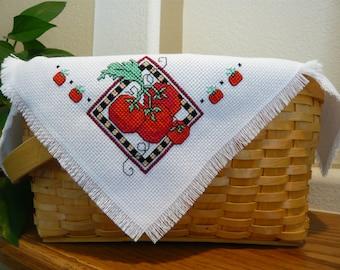 Fresh Tomatoes Cross Stitched Basket Liner - Bread Cloth - Summer basket - gift basket