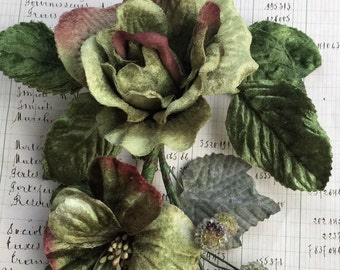 antique green rose bouquet. velvet rose and berry stem. vintage roses. millinery couture. rose bouquet