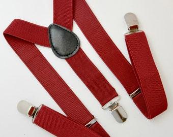 Burgundy Red Adjustable Suspenders Y-Back 6 months - ADULT Baby Boys Kids Children Mens Adult Birthday Groom Page Boy Wedding