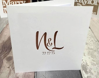 Simple Papercut Initials Anniversary Wedding Engagement Card