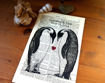 Penguin Sweet Love Wedding Engagement Anniversary Valentine Gift Personalized Art Print on Antique 1896 Dictionary Book Page