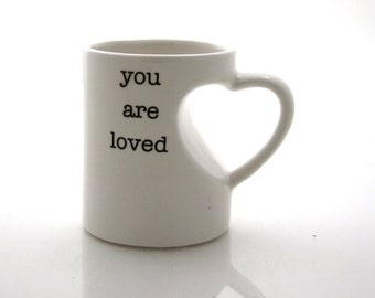 Father's Day gift ideas - Grandpa - You are Loved  mug in white with heart shaped handle, gift for Grandparent