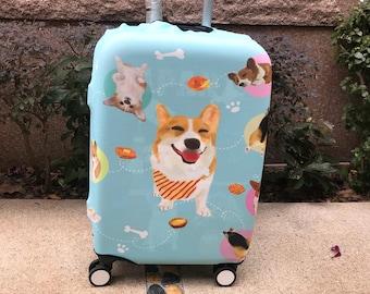 Printed corgi with Hong Kong famous food luggage cover