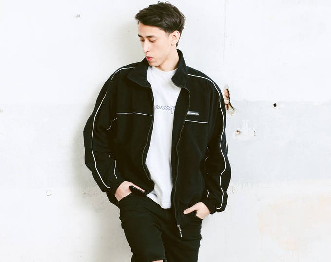 Umbro Velvet Sports Jacket . Men's Vintage 90s Clothing Black Tracksuit Top 1990s Activewear Monochrome Jacket Streetwear . size Extra Large