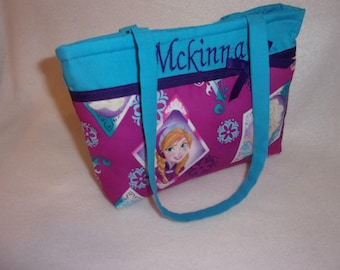 Frozen Sisters Handmade youth toddler girls up to aprox age 5 purse Anna Elsa perfect Birthday gift 2 prints choice personalize