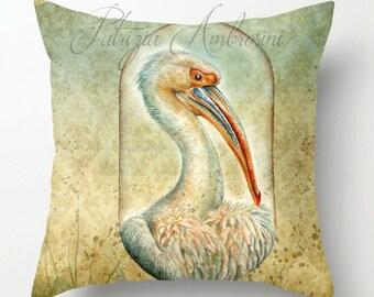 Pillow .PELICAN in a capsule  .PRINT art.. animal art - woodland art - fine art -living room - childrens room - nursery -vintage,  birds