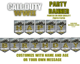 Call of Duty WW11 Party Banner, Happy Birthday Banner