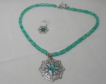 Lacy Aqua and Seamist Necklace Set