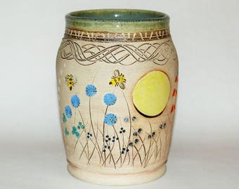 Handmade Pottery Bees In The Meadow Vase Stoneware Wheel Thrown