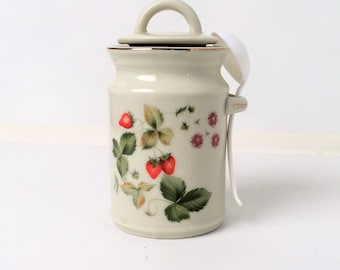Strawberry Bone china jelly Jam Jar
