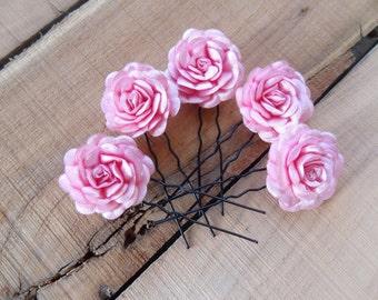 Candy Pink Rose Wedding Hair Pins, Pink Bridal Hair Pins, Flower Girl Hair Accessories, Bridesmaid Hair, Beach Wedding,  Set of 5