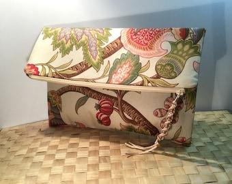 UNIQUE clutch purse, Floral upholstery fabric clutch, Fold over clutch, envelope clutch, zippered clutch, evening bag, OOAK handmade purse