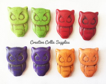 Owl Halloween Howlite Beads - Multi Color Beads - Carved Stone Beads - 8 pc set