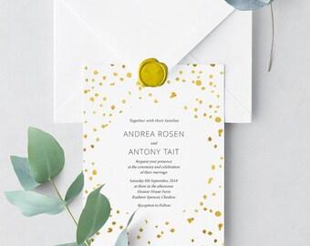 Gold Confetti Printable Invitation