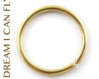 9mm 20g 24K Gold Nose Ring / Cartilage Hoop - 9mm Seamless Hoop earring in 20 gauge solid 24K yellow gold