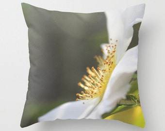 White & Yellow Pillow Cover-Floral Pillow Cover-Flower Pillow Cover-Sofa Pillow-26x26-Outdoor Pillow-Pillow Cushion Cover-Faux Suede Pillow