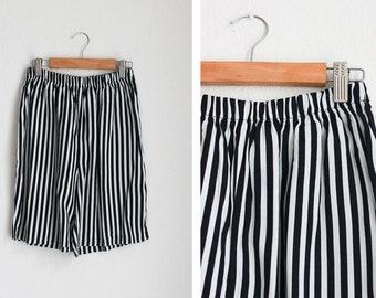 Vintage Printed White & Navy Stripe Shorts