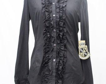 Black Ruffled Long Sleeve Blouse with Cotton Back