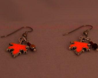 Glow in the Dark Red Maple Leaf Earrings