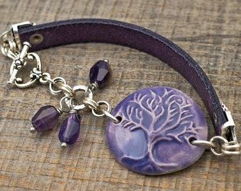 Lavender Tree of Life bracelet, ceramic, leather and silver, purple amethyst, 7 3/4 inches long