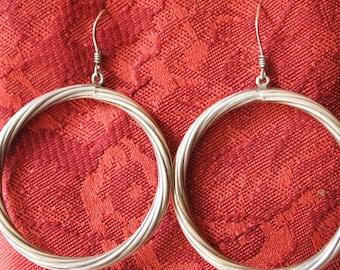 Vintage Sterling Silver, twisted hoop earrings